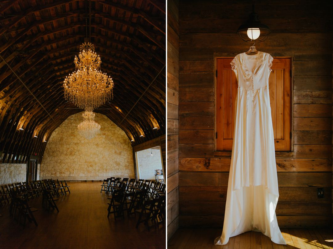 hanging wedding dress at brodie homestead