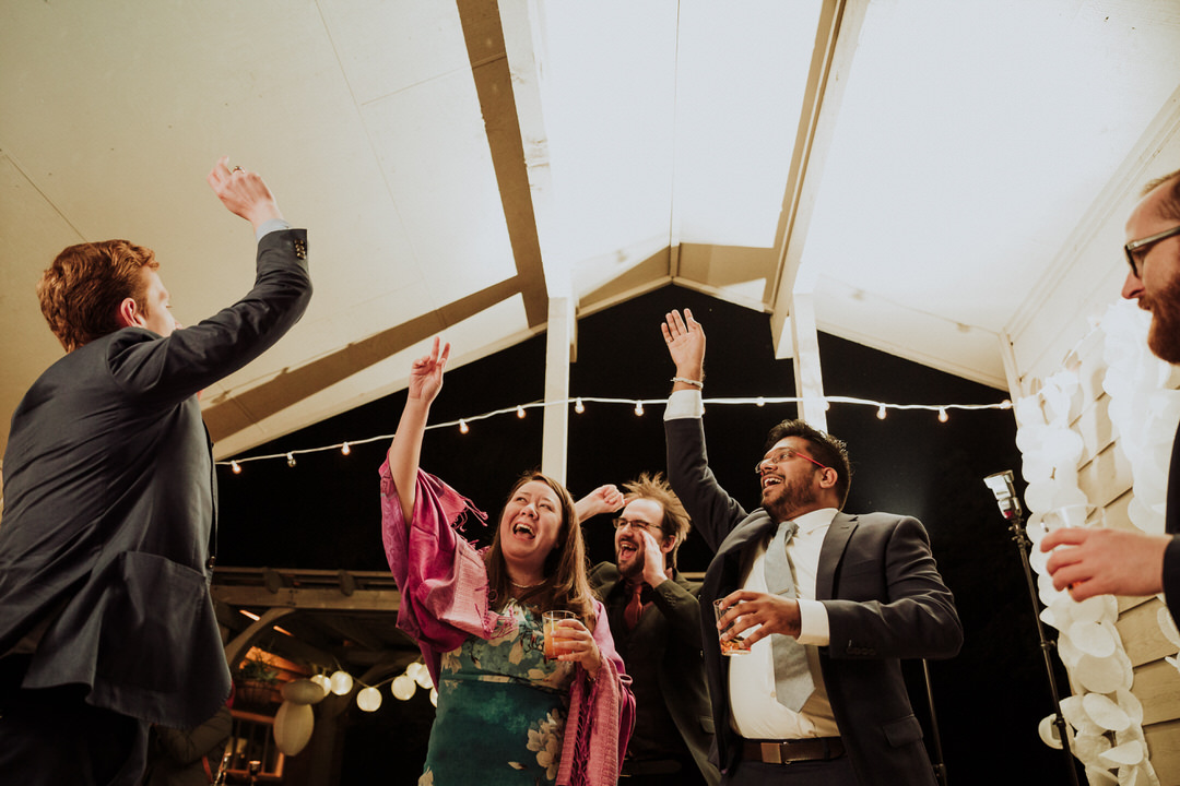 dancing at backyard wedding