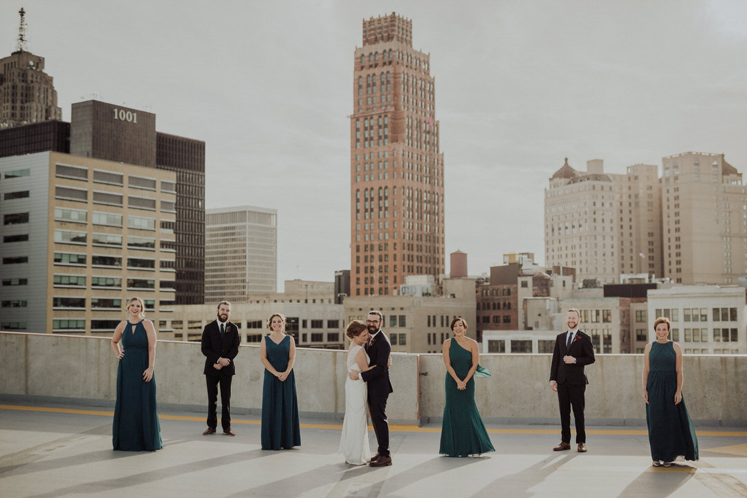bridal party rooftop photos