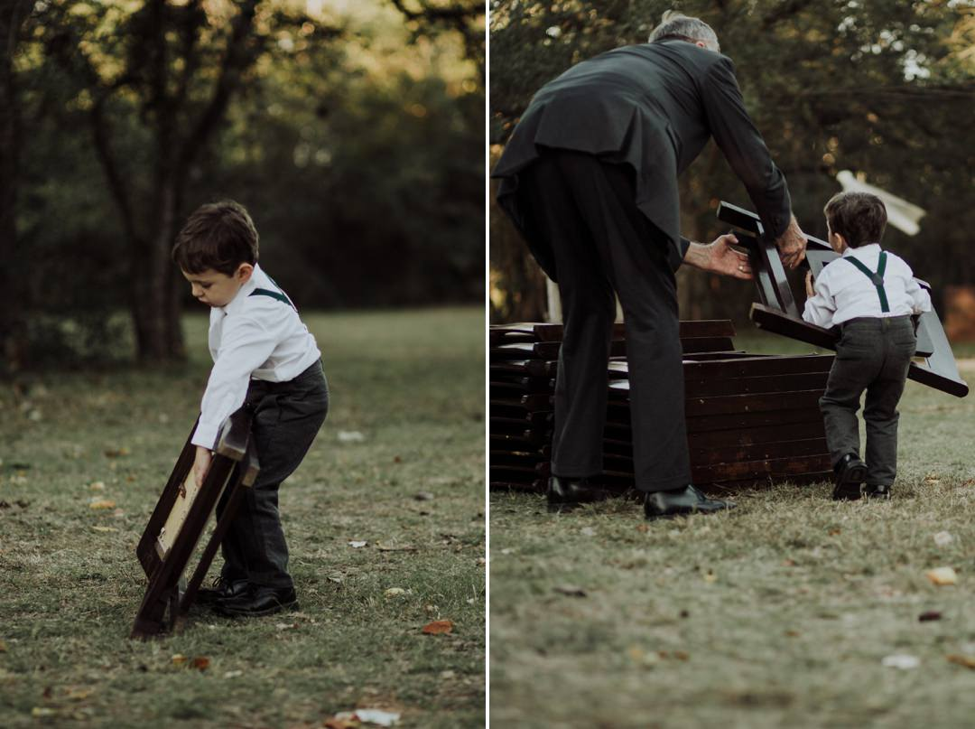 ring bearer helping after wedding