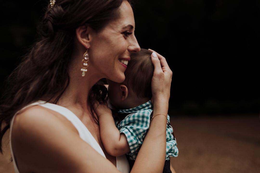 bride and baby at wedding
