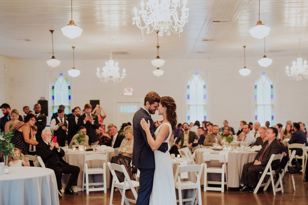 first dance of couple in front of guests
