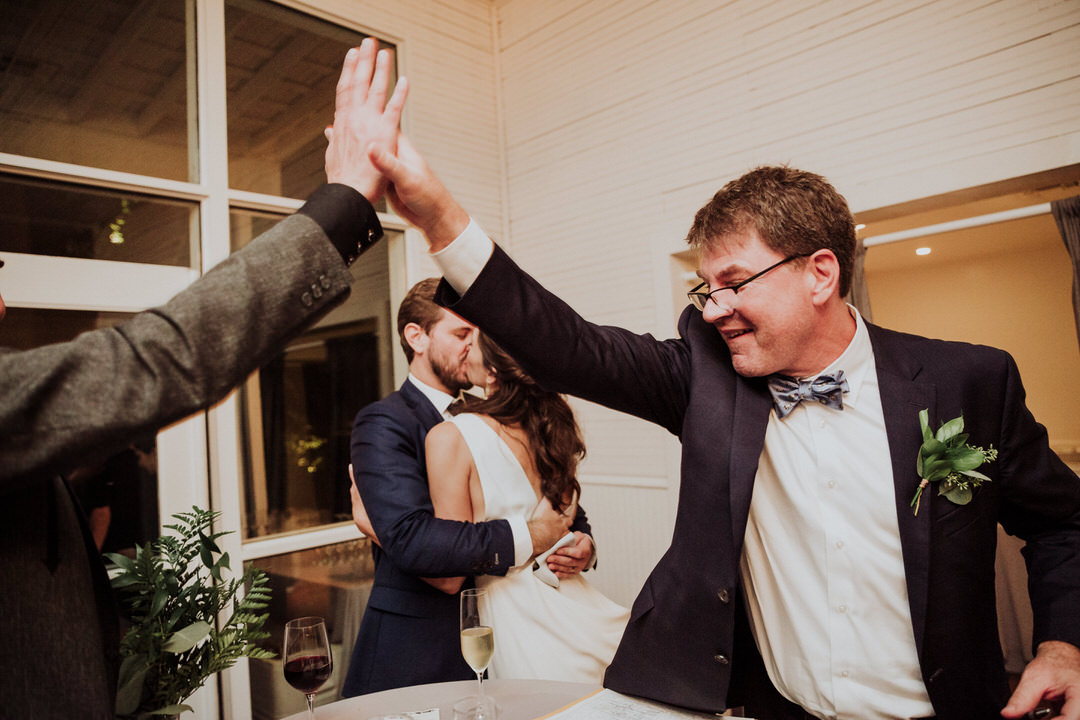 high five during reception