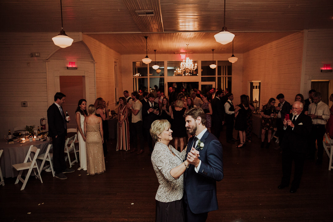 first dance of mom and son at wedding