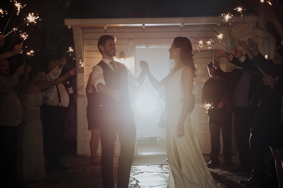 exit photo of couple sparklers